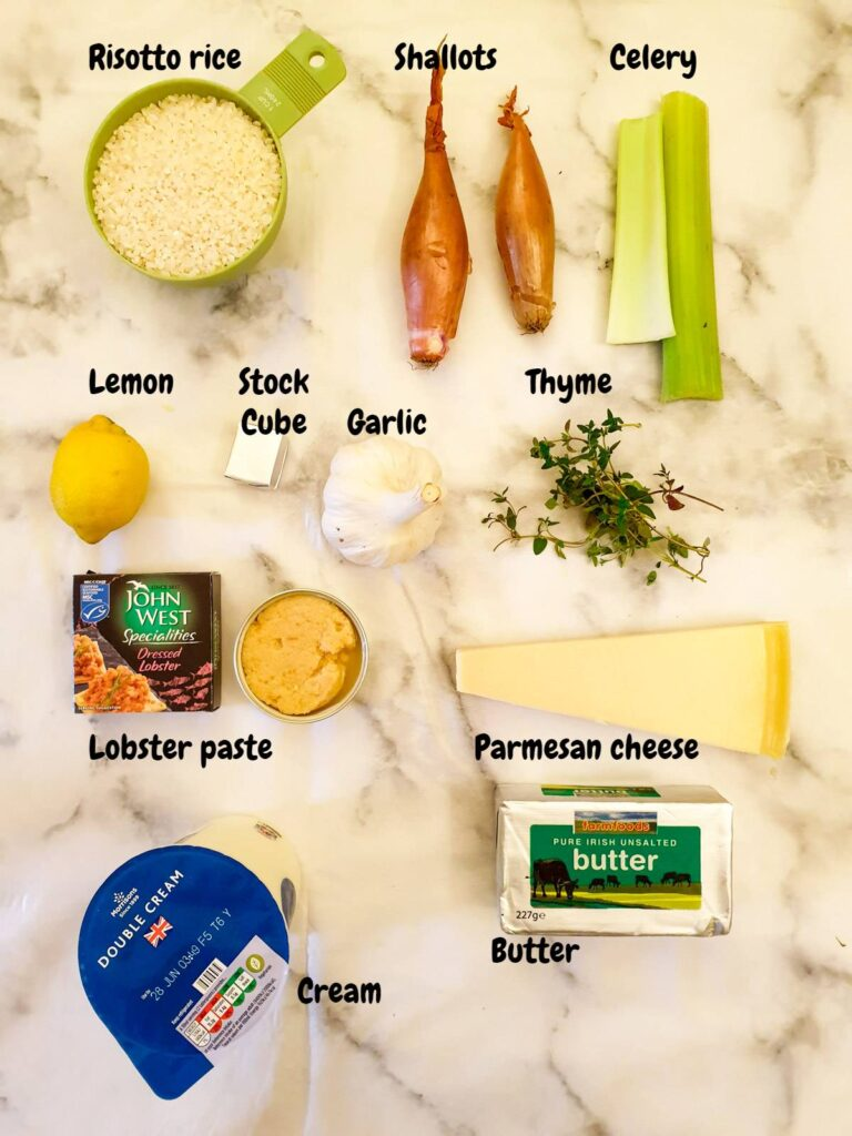 Ingredients for lobster risotto.
