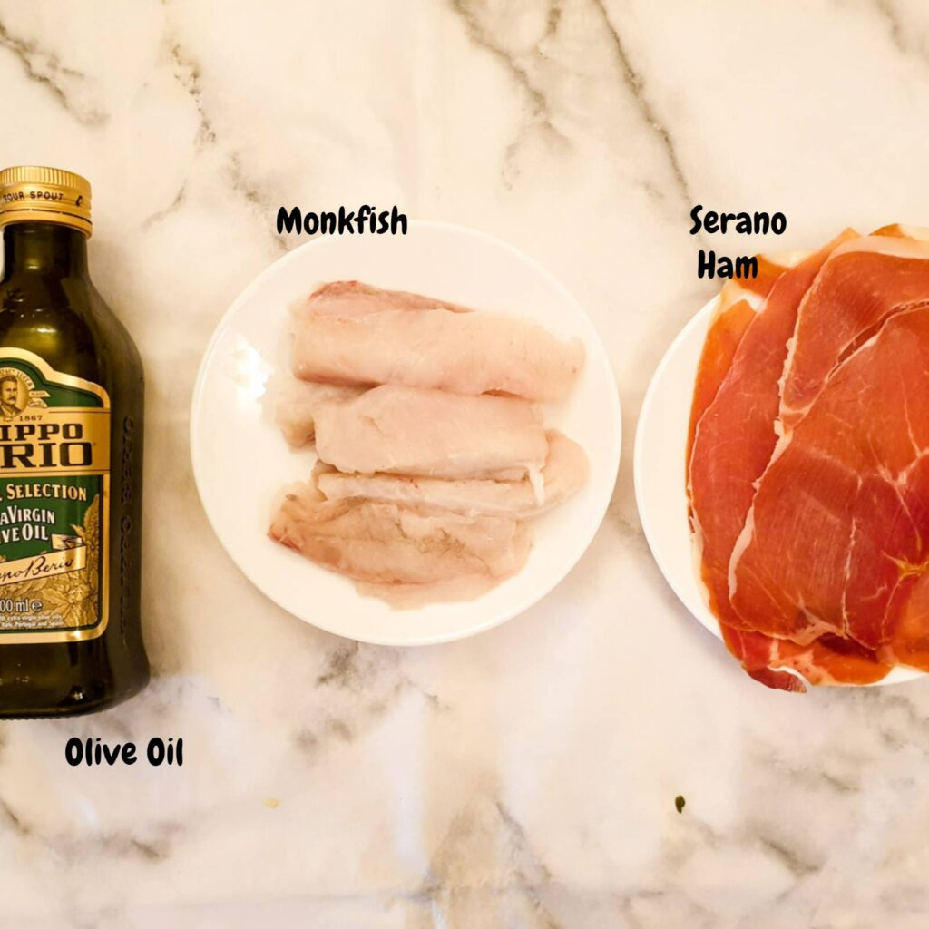 Ingredients for monkfish wrapped in serrano ham.