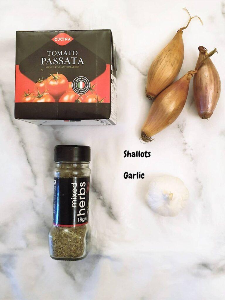 Ingredients for marinara sauce.
