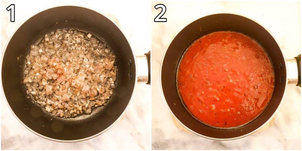 Steps for making marinara sauce.