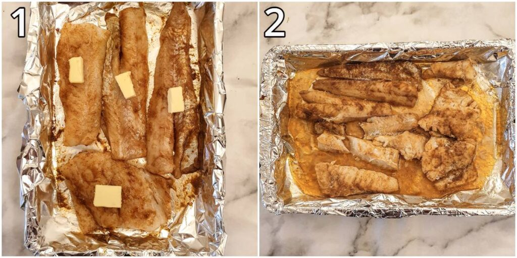 Steps for making the spicy fish.