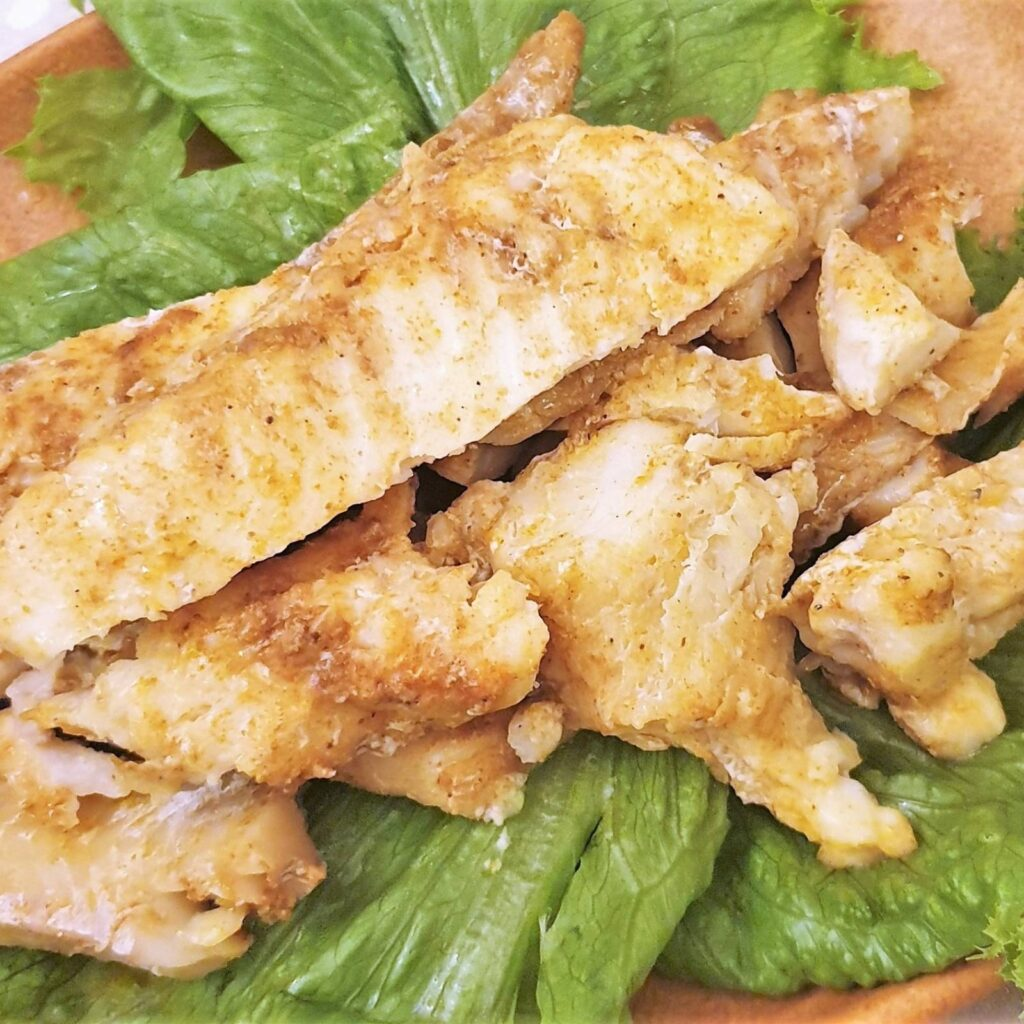 Closeup of the baked fish.