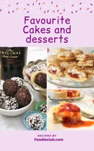 Cover photo for favourite cakes and desserts e-book