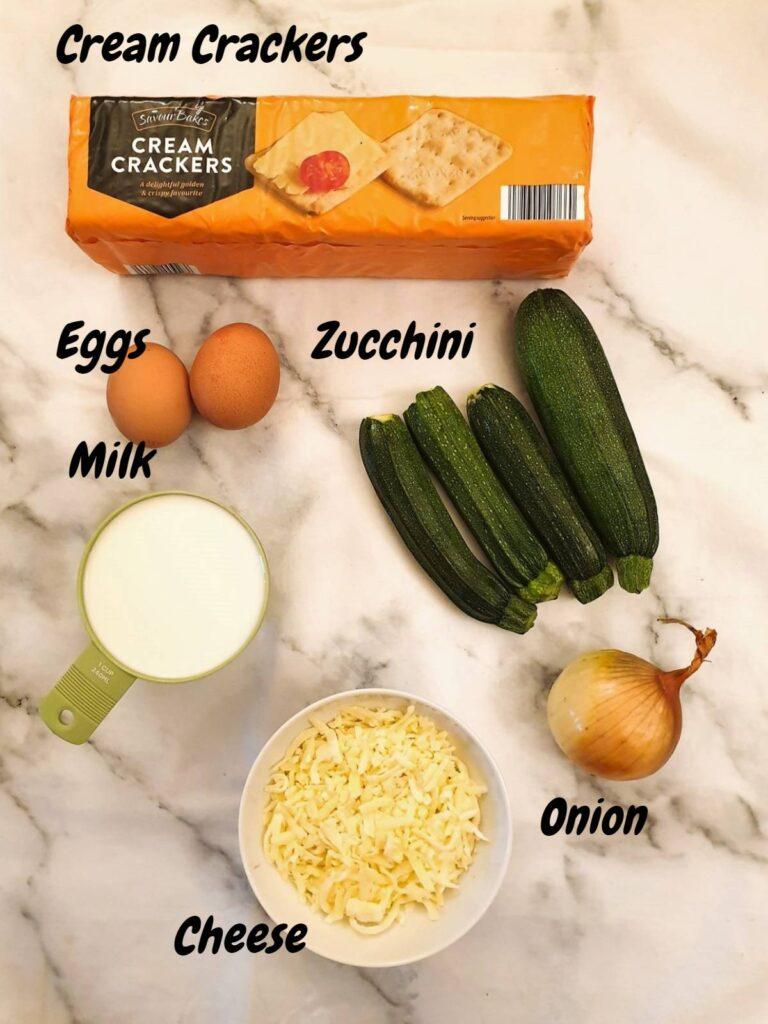 Ingredients for cheesy zucchini bake.
