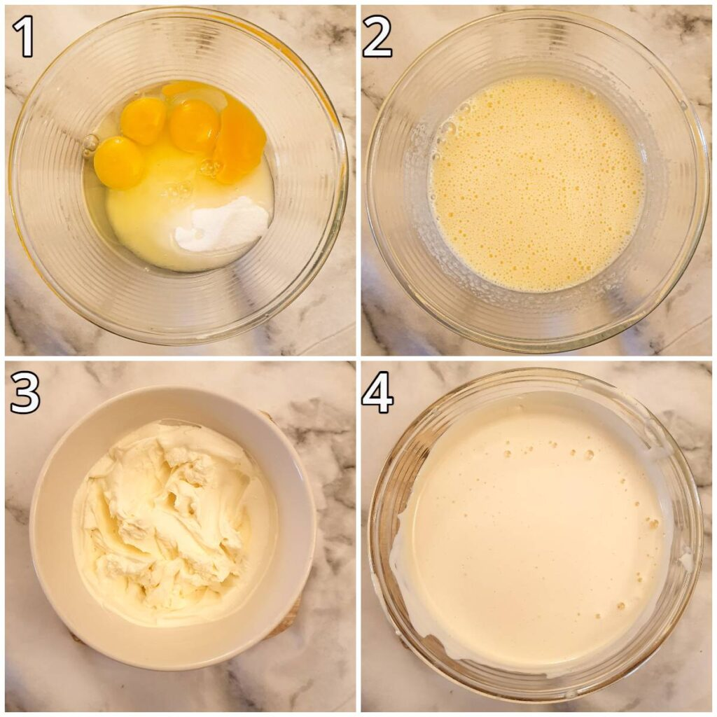 Steps for mixing the ice cream.