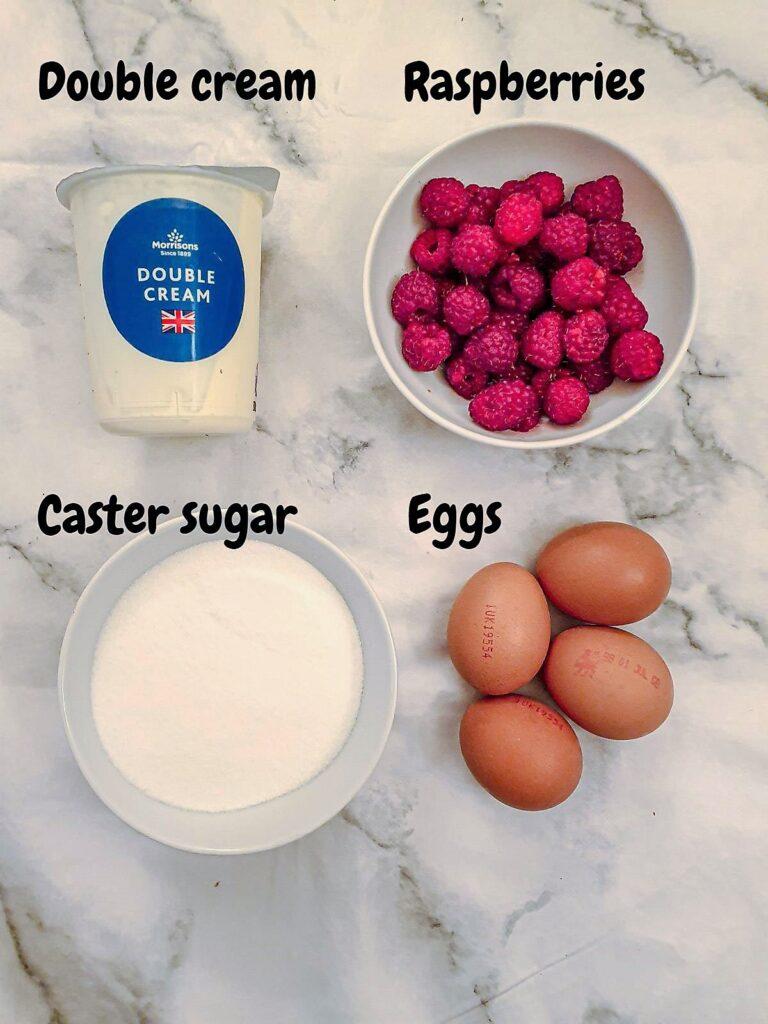 Ingredients for raspberry ripple ice cream.