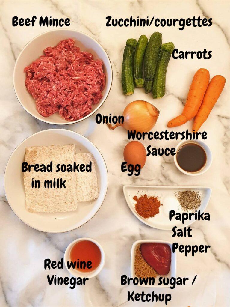 Ingredients for juicy meatloaf.