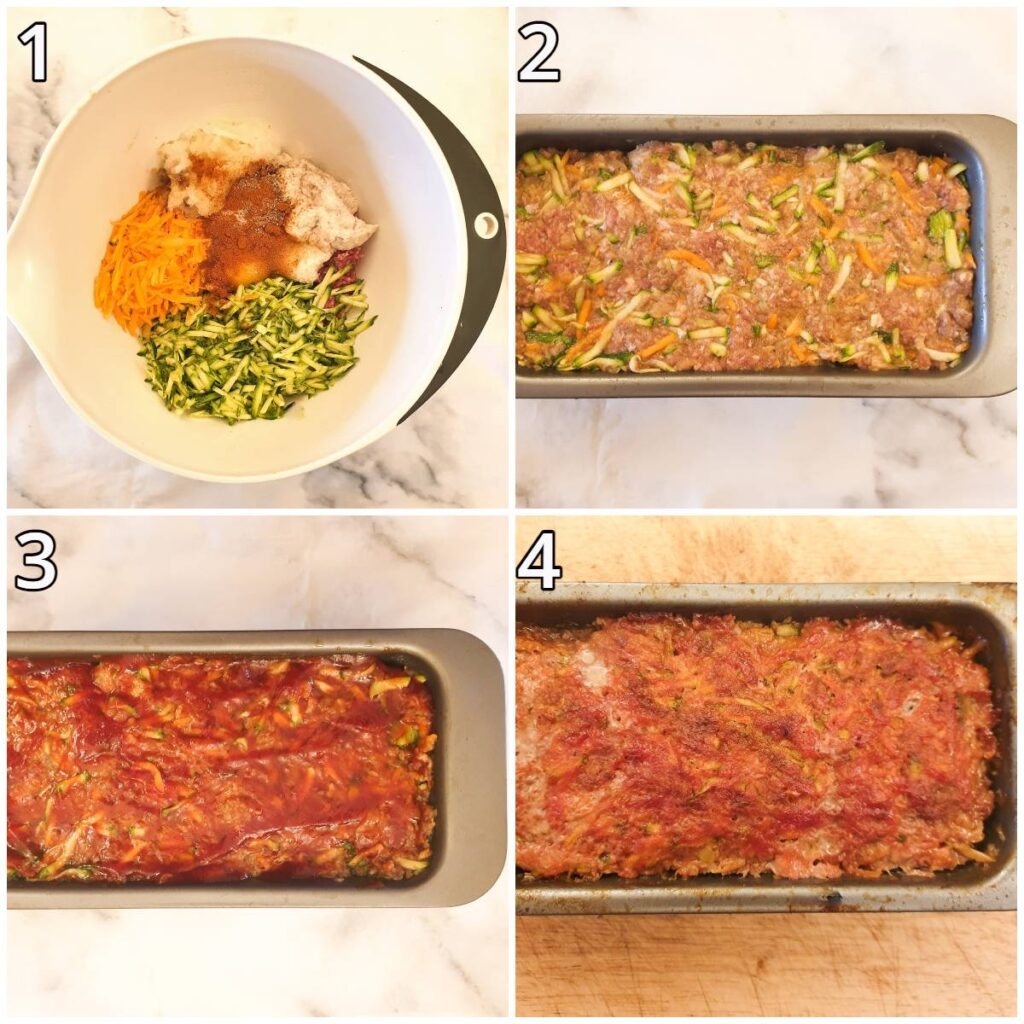 Steps for mixing and forming the meatloaf.