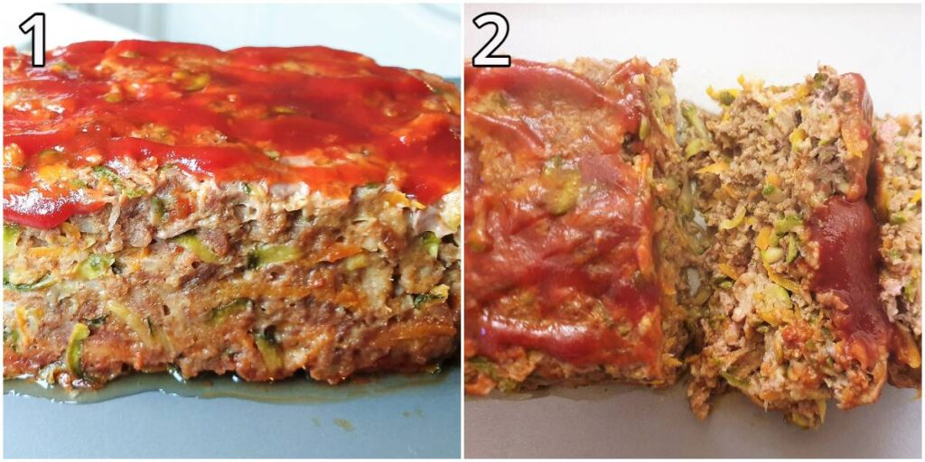 Two images showing the juicy texture of the meatloaf.