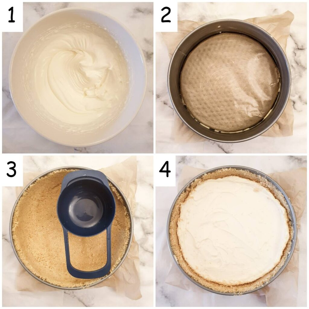 Steps for assembling the cheesecake.