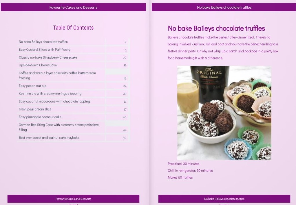 First 2 pages of free cakes and desserts ebook.