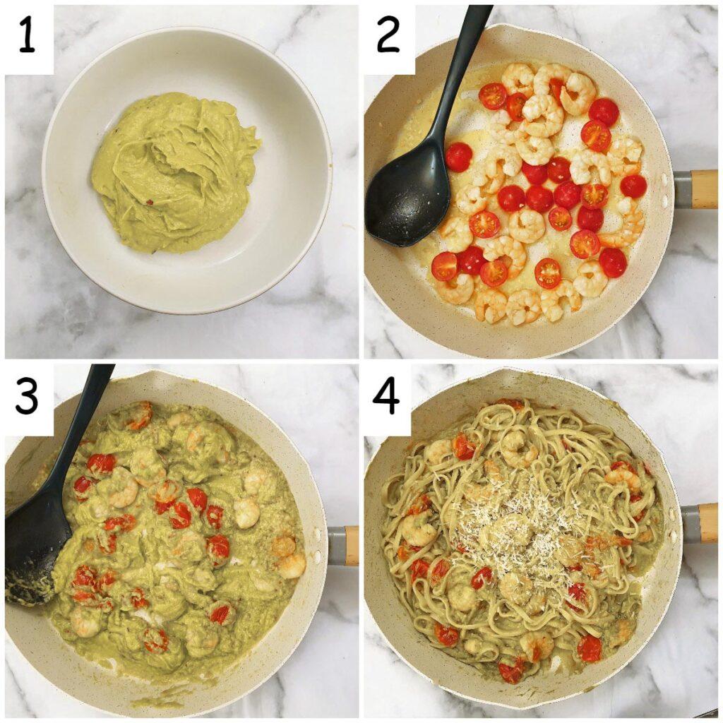 Steps for making avocado and shrimp linguine.
