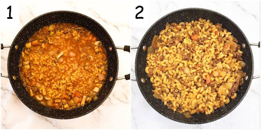 Final steps for making American goulash.