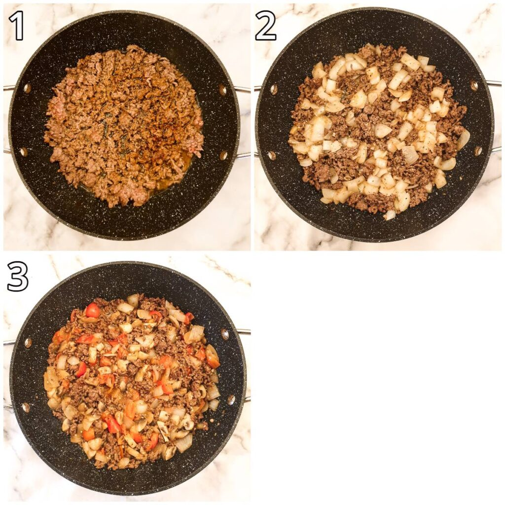 Steps for making American goulash.