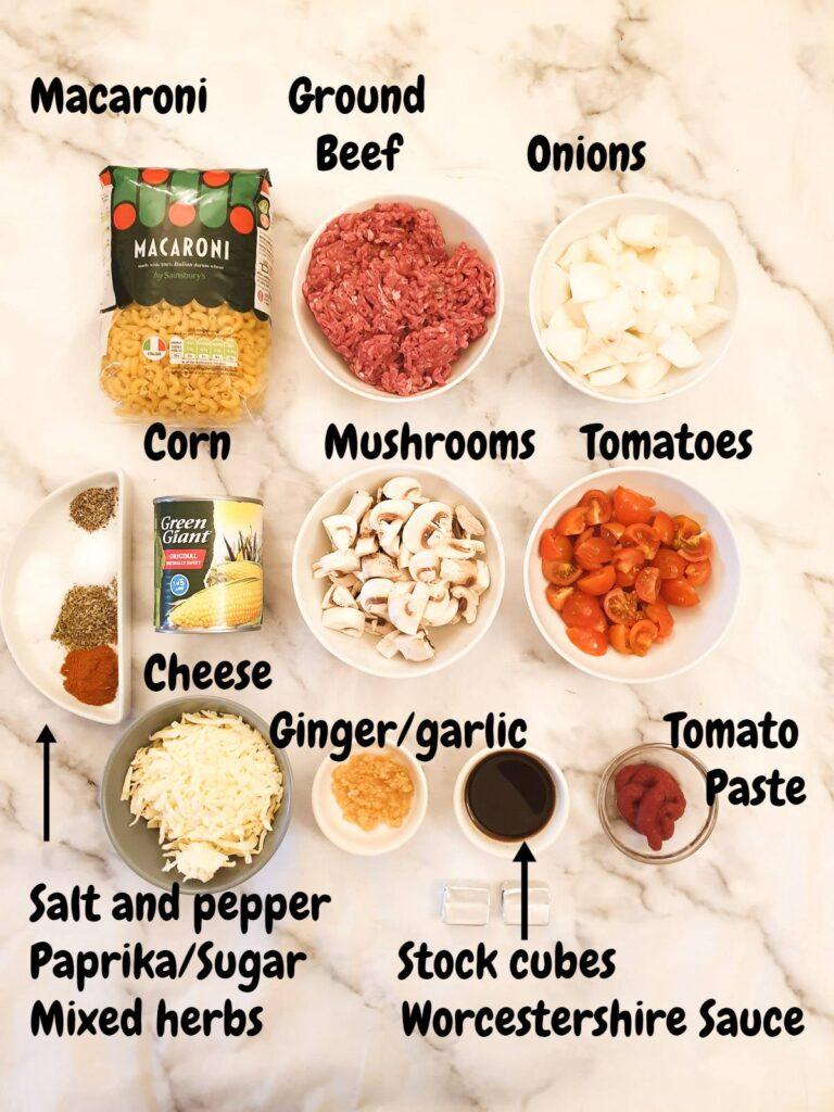 Ingredients for American goulash.