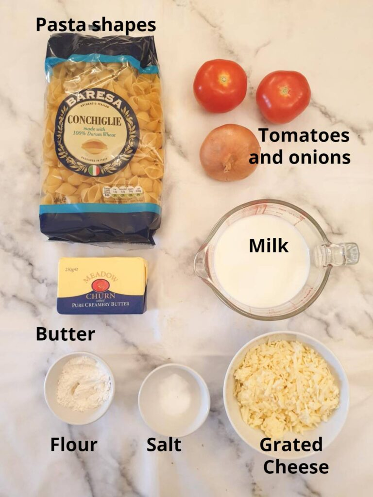 Ingredients for cheesy barbeque pasta salad.