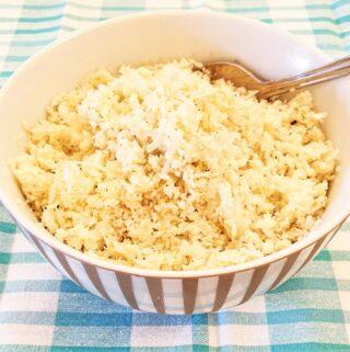 A dish of cauliflower rice.