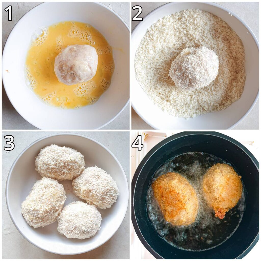 Steps for coating the scotch eggs in breadcrumbs.