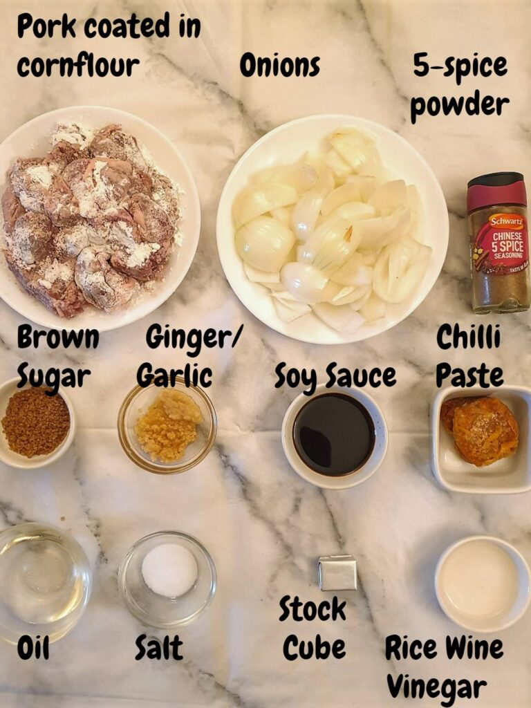 Ingredients for sticky Asian pork
