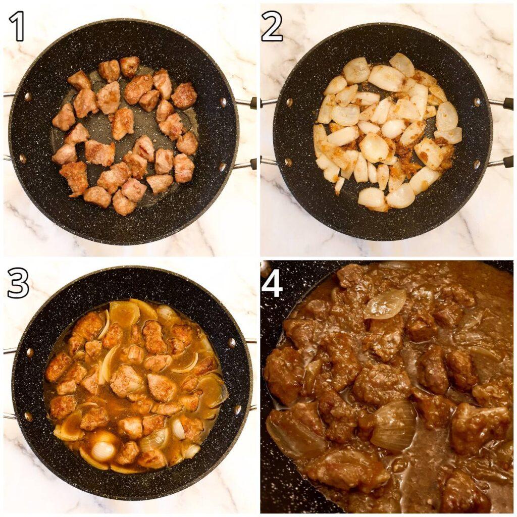 Steps for making sticky Asian pork.