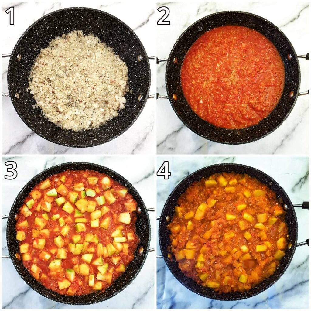 Steps for making arrabbita sauce with marrows.