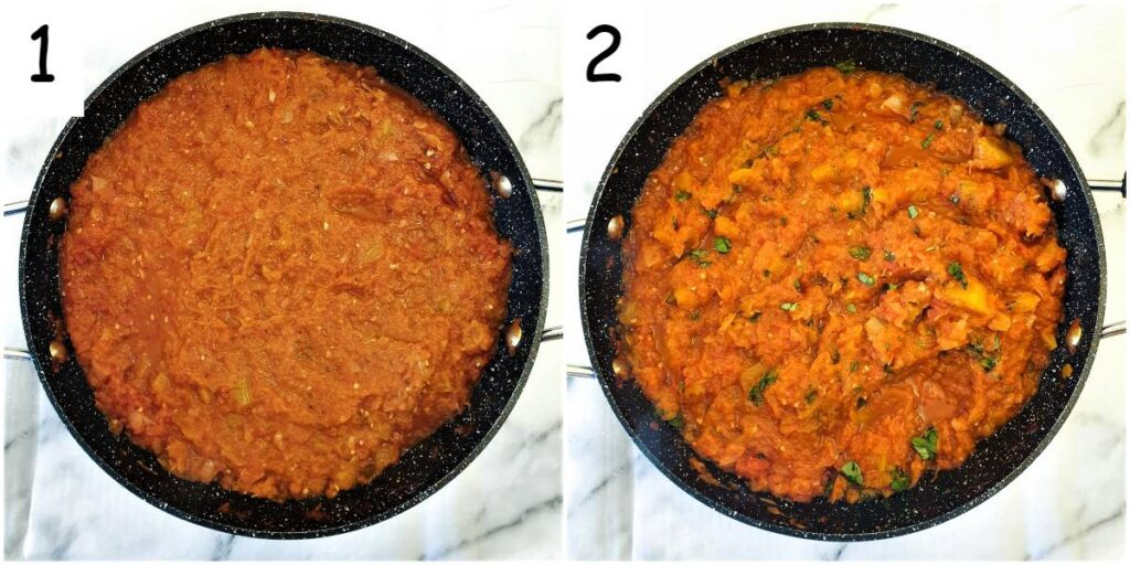 Final steps for cooking the sauce.