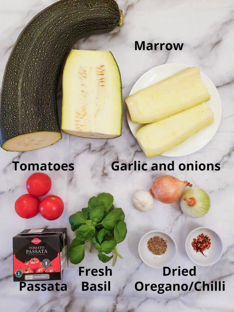 Ingredients for arrabbiata sauce with marrow