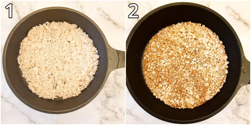 Breadcrumbs being toasted in a frying pan.