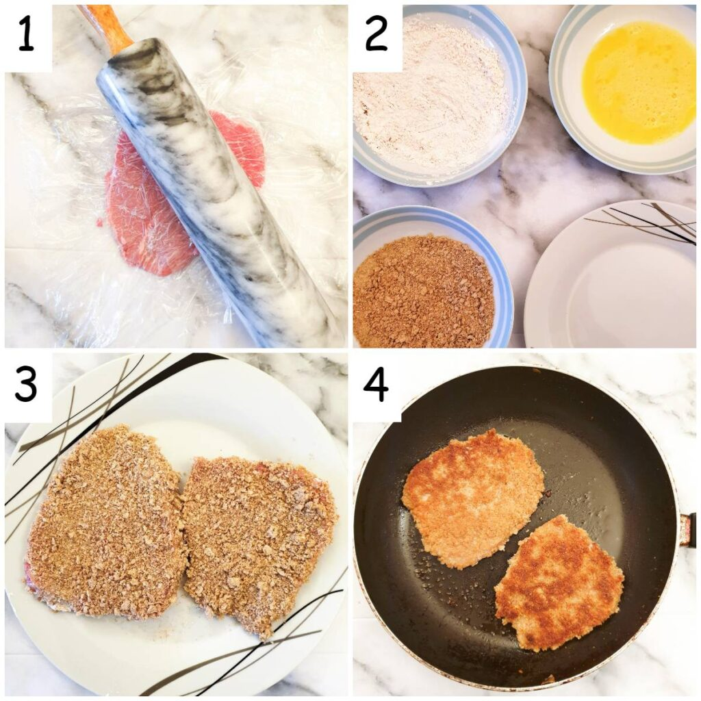 Steps for coating and frying crispy beef schnitzels.