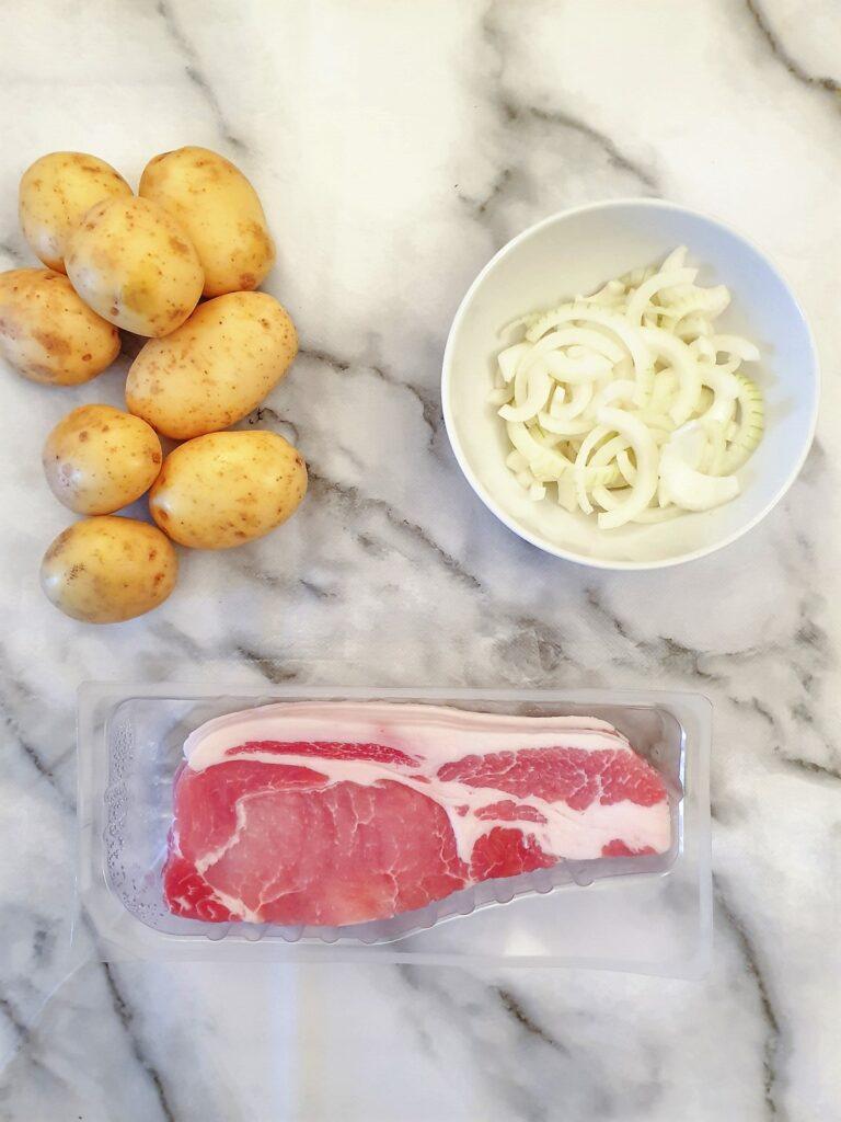 Ingredients for German fried potatoes.