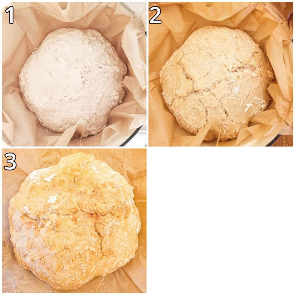 Steps for baking the crusty homemade bread in a dutch oven