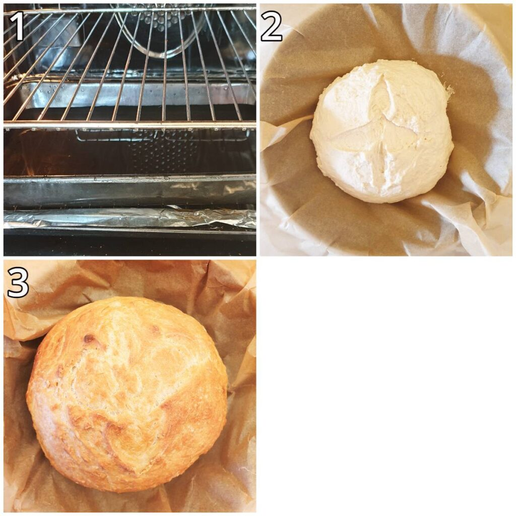 Steps for baking the homemade bread without a dutch oven.