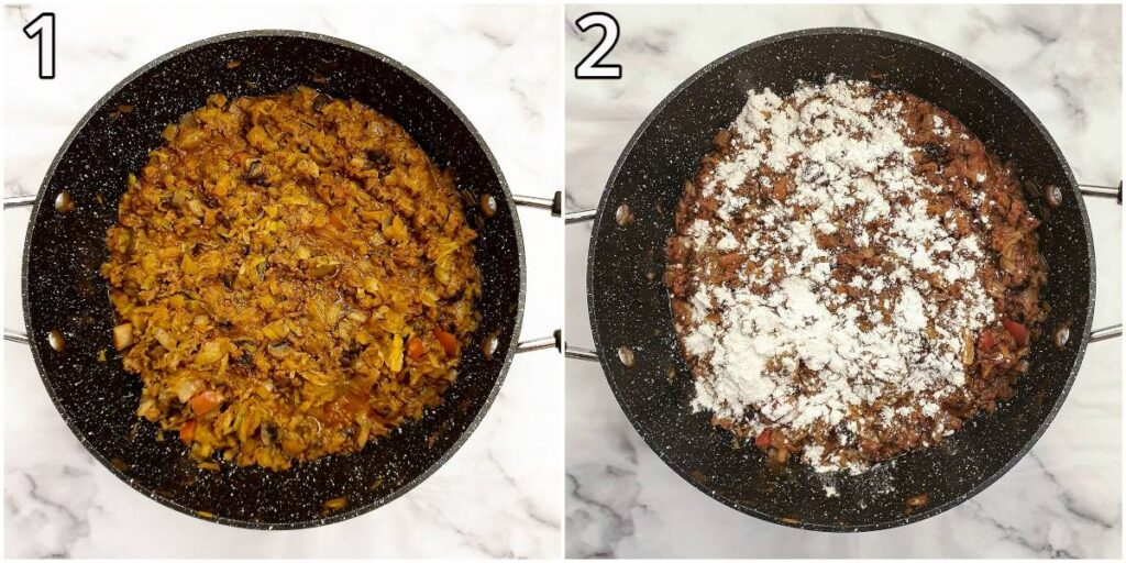 Steps for thickening the meat filling with flour.