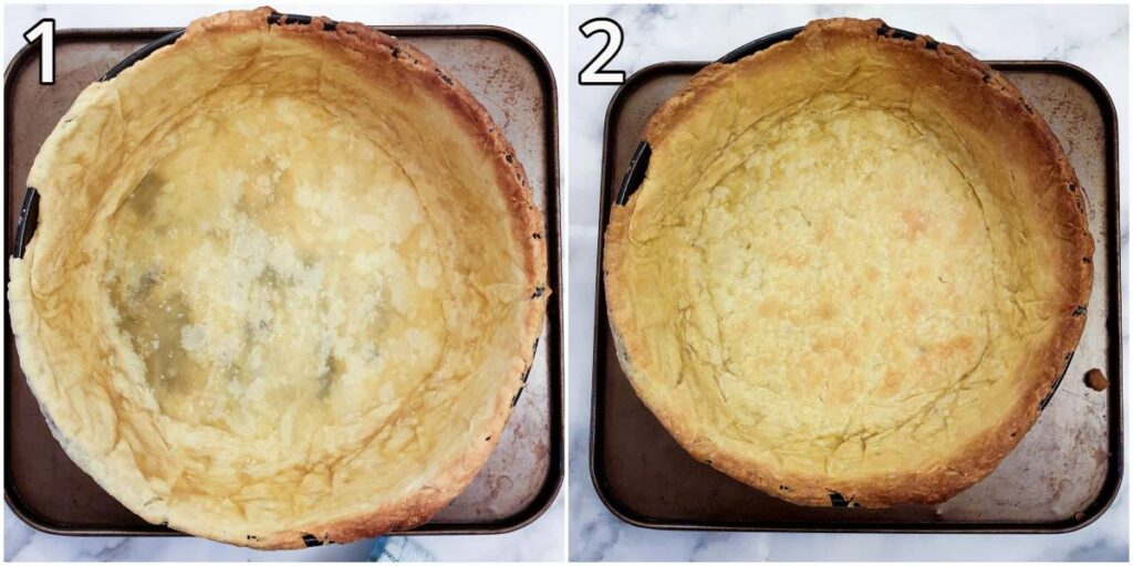 The pastry case after it has been blind-baked, and another image showing the same pastry case after an additional few minutes in the oven.