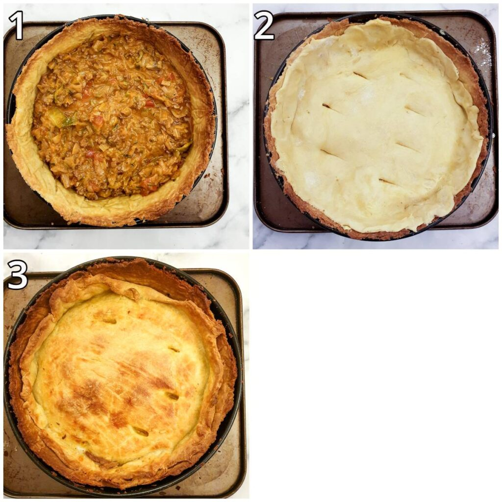 Steps for assembling and baking the pie.