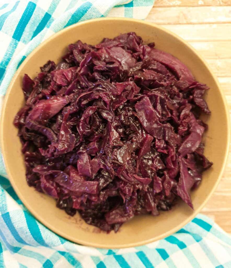 Overhead shot of a dish of braised red cabbage.