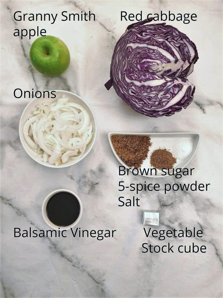 Ingredients for spicy braised red cabbage