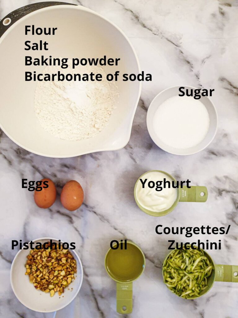 Ingredients for zucchini pistachio cake