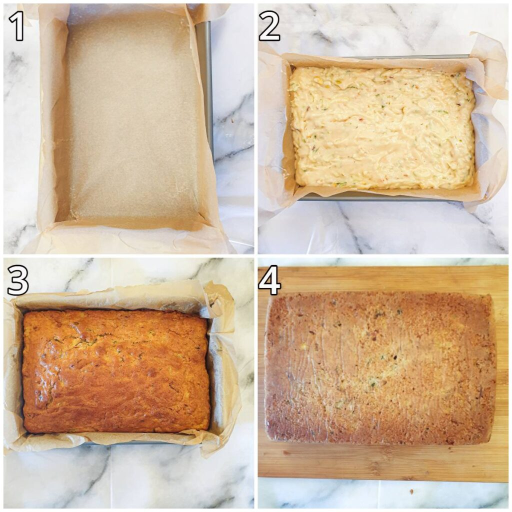Steps for lining the baking dish and baking the cake.