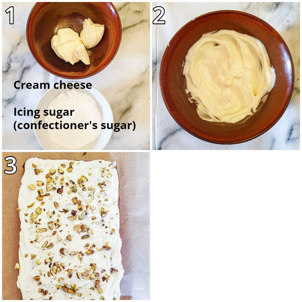 Steps for frosting the cake.
