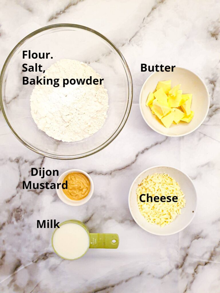Ingredients for the cheesy scone topping for the beef cobbler.