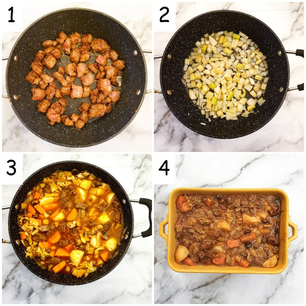 Steps to make the beef stew.