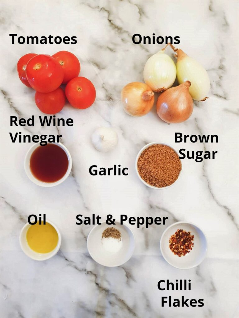 Ingredients for making chilli tomato and onion sauce.